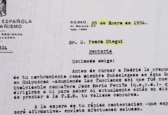 P. Otegiren izendapena.1954