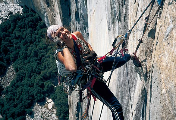 Miriam García Yosemiten eskalatzen, 1987an (M. García)